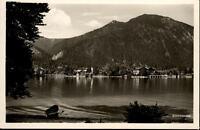 Walchensee alte Ansichtskarte ~1950/60 Blick über den See auf das Dorf Ruderboot