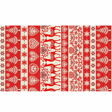 Makower Scandi Christmas Border Print Cotton Fabric