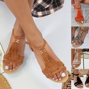 New Womens Fringe Flat Summer Sandals Comfy Holiday Shoes Sizes 3-8