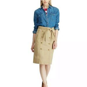 Lauren Ralph Lauren Belted pencil gold buttons khaki Skirt Sz 4P petite NWT