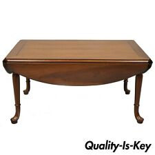 Vintage Statton Trutype Solid Cherry Wood Drop Leaf Queen Anne Coffee Table
