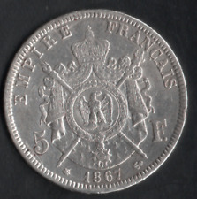 5 FR ARGENT NAPOLÉON III 1867 A COTE 550 € EN FDC VOIR PHOTO ET DESCRIPTIF