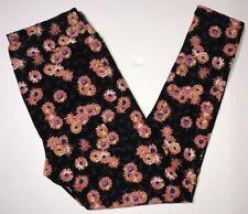Lularoe TC Black/Pink/Multicolored Floral Design