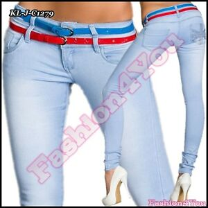 Sexy Ladies Light Blue Jeans Womens Skinny Hipsters + Belts Size 8,10,12,14 UK