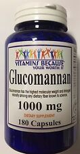 Glucomannan Natural Konjac 180 Capsules 1000 mg Weight Loss Suppress Appetite