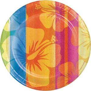 Hawaiian Luau Party Sunset Stripes 7 Inch Paper Plates 18 Pack