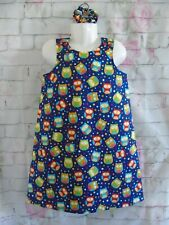 Handmade Girls *Colourful owls* pinafore dress age 6-7 years