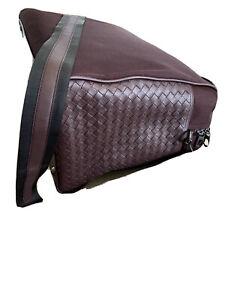 New $2750 Bottega Veneta Men Leather/Canvas Travel Bag Burgundy Italy