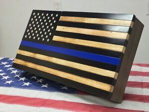 American Flag Handgun Concealment Cabinet Hidden Wall Art Rustic Burned Gun Case