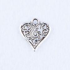 20pcs Tibetan silver Charm Lovely Heart Pendant Jewelry Findings DIY 15X16mm