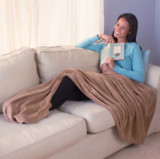 Large Plush Throw Blanket 60 x 70 Unique Foot Warmth Pocket Pouch Solid Mocha
