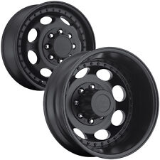 "Set of 6-Vision 181H Hauler Dually 19.5"" 8x6.5"" Black Wheels Rims-Lugs Included"