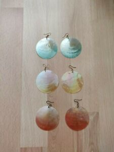 TOPSHOP FREEDOM COSTUME EARRINGS BLUE YELLOW CORAL GOLD UNICORN OMBRE GYPSY BOHO