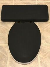 Solid Black Fetish Gothic Bathroom Decor Elongated Toilet Seat & Tank Lid Covers