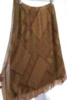 Kasper Nylon Mesh Medallion Geometric Print Stretch Skirt Lined Brown Sz Large