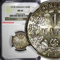 Germany-Empire Wilhelm II Silver 1915 E 1 Mark NGC MS65 Dresden Mint KM# 14
