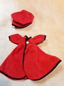 Red Doll Coat and Hat Waist 2.5 inches 6 inches Long  Hat 3 inches