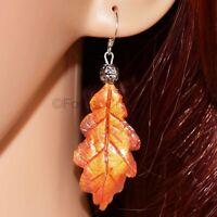 Oak Leaf Earrings in Late Autumn Tones - Handmade Polymer Clay Jewellery Fall