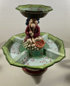 """Tracy Porter Monkey Hand Painted 2 Tiered Server 16"""""""
