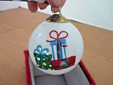 """Hand Painted Blown Glass """"Presents / Gifts """" Christmas Ornament in Box~New"""