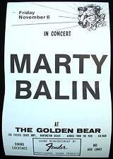 MARTY BALIN Balin USA Concert Poster Mint- 1981 Golden Bear ORIGINAL!!!