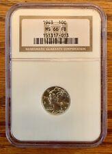 1943 10 Cent (Dime) MS 66 FB, NGC