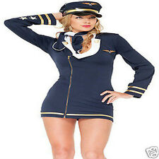 Mile High Maiden Sexy Pilot Costume gold accents pilot accessoriess size S/M