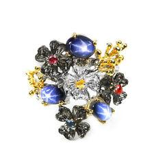 925er Silber Ring Weiß/Gelbgold beschichtet Schwarz Rhodiniert Blau Sternsaphir