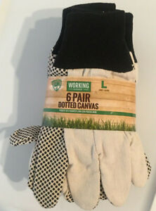 Working Hands Gloves Size Large Pack Of 6 Pair Dotted Canvas Garden Outdoor NEW