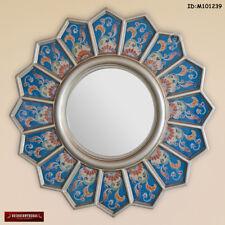 Round Sunflower wall Mirror - Handpainted Glass Wood Mirrors - Peruvian mirror