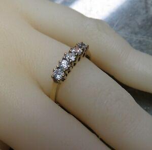 9ct Gold & 5 Stone Ring.Half Eternity Hoop  Size N.   Ref: xhod.mx?