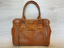 Auth Longchamp Leather Shoulder bag tan satchel tote Brown two Zippers Shopper