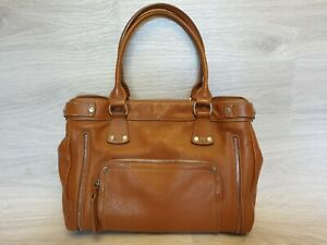 Auth Longchamp Leather Shoulder bag tan satchel tote Brown two Zippers Shopper