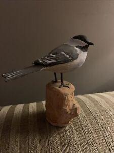 Peter Peltz (1915-2001) Carved Wood Chickadee Bird - Signed