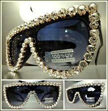 OVERSIZED VINTAGE RETRO SHIELD Style SUN GLASSES Huge Crystals Stones Handmade