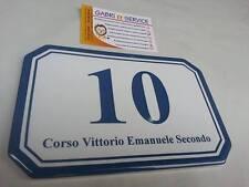 TARGA NUMERO CIVICO 17,5x11x0,6 cm PORCELLANA CERAMICA FOTOCERAMICA decalcomania