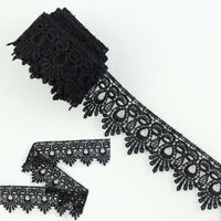 3 Yards Black Polyester Lace Trims Venise Dress Sewing Crafts Applique DIY HOT