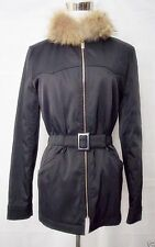 Barbara Bui Initials Jacket Marmot Fur Collar Black Nylon Anorak Zipper Front XS
