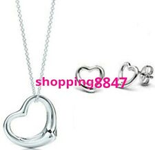 New Set Fashion Heart Silver Necklace Pendant Elegant Jewelry 925