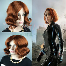Black Widow Sexy Orange Brown Short Curly Women Cosplay Full Wavy Hair Wigs