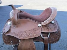 16 BARREL RACING REAL PLEASURE ARABIAN TOOLED SHOW LEATHER WESTERN HORSE SADDLE