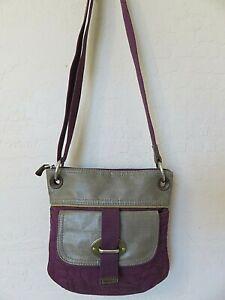 Fossil Key-Per Cross Body Handbag Gray Purple Embroidered Canvas Slim Saddle Bag