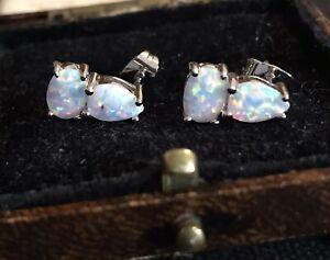 Vintage Style Jewellery Opal Earrings 18K White Gold Plated