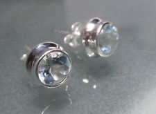 Sterling silver 6mm round CUT TOPAZ STUD earrings. Gift bag.