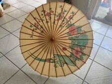 Vintage rice paper parasol hand painted bamboo oriental