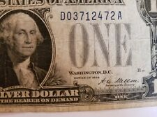 1928 A One Dollar Bill silver Certificate Blue Seal Funny Back Paper Money $1