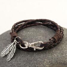 Punk Men Women Fashion Leather Wrap Braided Wristband Cuff Bracelet Bangle