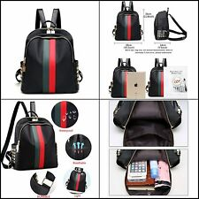 Women Leather Mini Backpack Teenager School Tote Gucci-like Stripes Fashion Bag