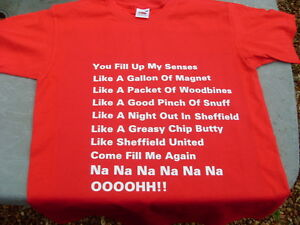Sheffield United Greasy Chip Butty Song T-Shirt inc 4xl & 5xl Christmas Gift