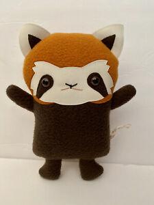 "Flat Bonnie Red Panda ""Rooney"" Stuffie Handmade Plush Firefox Lesser Panda"